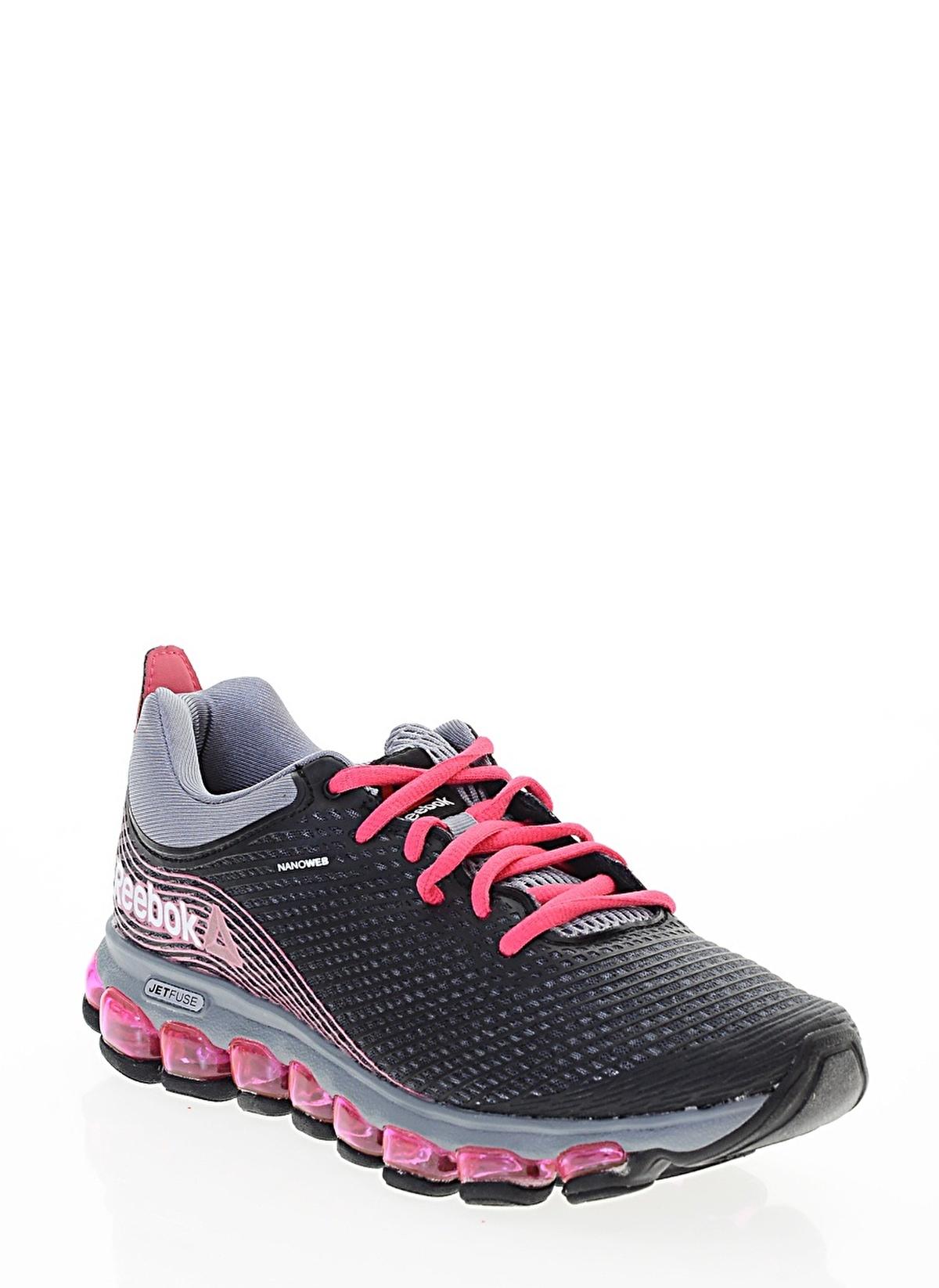 c318ba90d654e4 Reebok Kadın Jetfuse Run Graphite Pink Grey Blk